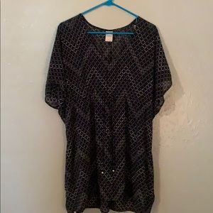 Navy Chevron Cover Up with grasp at waist